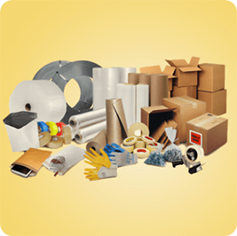 Multiple packing and shipping supplies on a yellow background